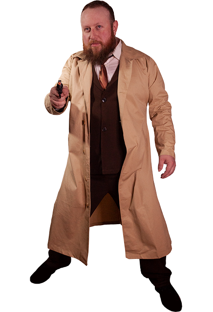 Man standing wearing a long jacket, with a gun