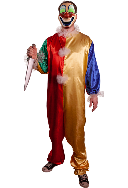 Person with a costume and mask and knife in hand