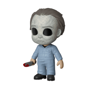 This is a Halloween Michael Myers 5 Star Funko and he has a white face, blue coveralls and a knife.
