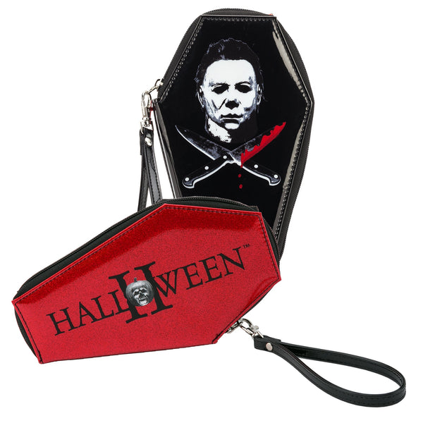 This is a Halloween Michael Myers coffin shaped wallet and it is black with red glitter.