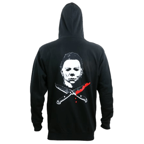 This is the back of a black zip up hoodie with a large Michael Myers face and 2 knives and one has blood on it.