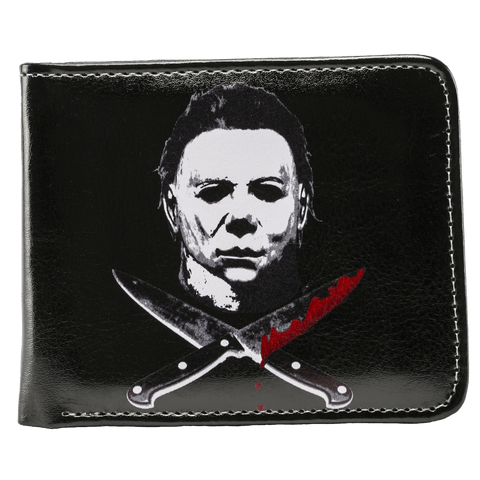 This is a Halloween Michael Myers billfold wallet that is black with 2 knives and one is bloody.