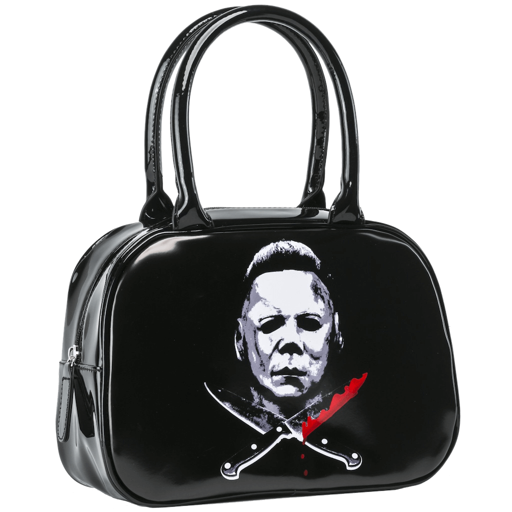 This is a shiny Halloween Michael Myers bowler handbag black purse, with 2 knives and one of them had blood on it.