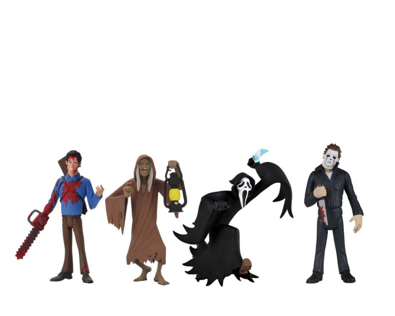 This is NECA Toony Terror Series 5 and has Ash, Creep, Ghostface and Michael Myers.  Edit alt text