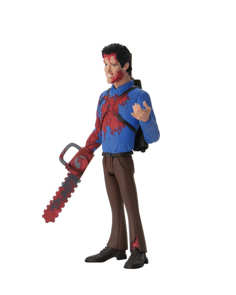 This is NECA Toony Terror Series 5 Evil Dead 2 Ash Williams and he has a bloody chainsaw, brown pants and a blue shirt, with a gun on his back.  Edit alt text