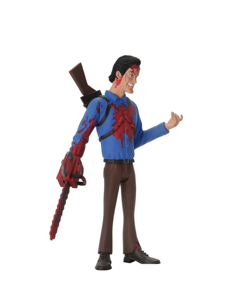 This is NECA Toony Terror Series 5 Evil Dead 2 Ash Williams and he has a bloody chainsaw, brown pants and a blue shirt..  Edit alt text