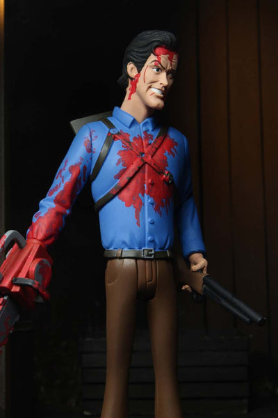 This is NECA Toony Terror Series 5 Evil Dead 2 Ash Williams and he has a bloody chainsaw, brown pants and a blue shirt and he is holding a gun.  Edit alt text