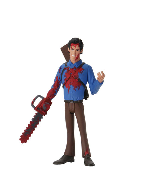 This is NECA Toony Terror Series 5 Evil Dead 2 Ash Williams and he has a bloody chainsaw.  Edit alt text