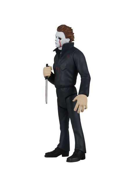 This is NECA Toony Terror Series 5 Halloween 2 Michael Myers and he has blood tears and is holding a bloody knife and wearing coveralls and black boots.  Edit alt text