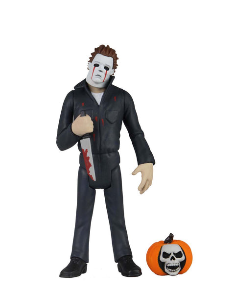 This is NECA Toony Terror Series 5 Halloween 2 Michael Myers and there is a pumpkin with a skull in it.  Edit alt text