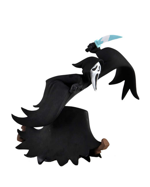 This is NECA Toony Terror Series 5 Scary Movie Ghostface and he has on a black robe and white mask and he is holding a knife.  Edit alt text