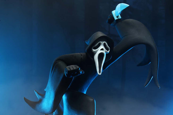 This is NECA Toony Terror Series 5 Scary Movie Ghostface and he has on a black robe and white mask with big mouth and he is holding a knife.  Edit alt text
