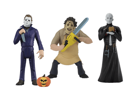 Michael Meyers is holding a knife, with a pumpkin and Leatherface is standing with a chainsaw, while Pinhead stands in a black leather dress with a brown box.