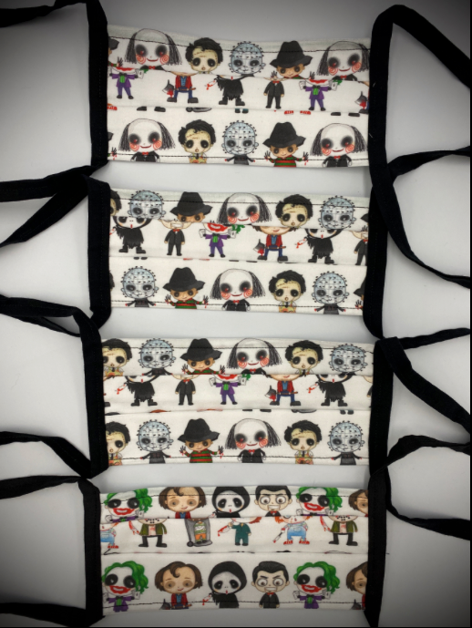 These are horror characters on a white protective face mask with black ties and has the characters Billy, Joker, Ghostface, Jack Torrance, Pinhead, Leatherface, Chucky, Jason Voorhees, Freddy Krueger, and Michael Myers.