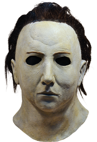 This is a Halloween 5 Revenge of Michael Myers mask that is white with dark brown hair and black eyes.