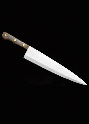 This is a Halloween II Michael Myers Butcher Knife that is foam and has a silver beveled blade and a brown handle with three gold dots.