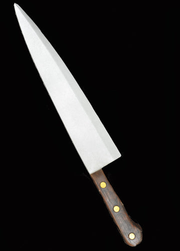 This is a Halloween II Michael Myers Butcher Knife that is foam and has a silver blade and a brown handle with three gold dots.