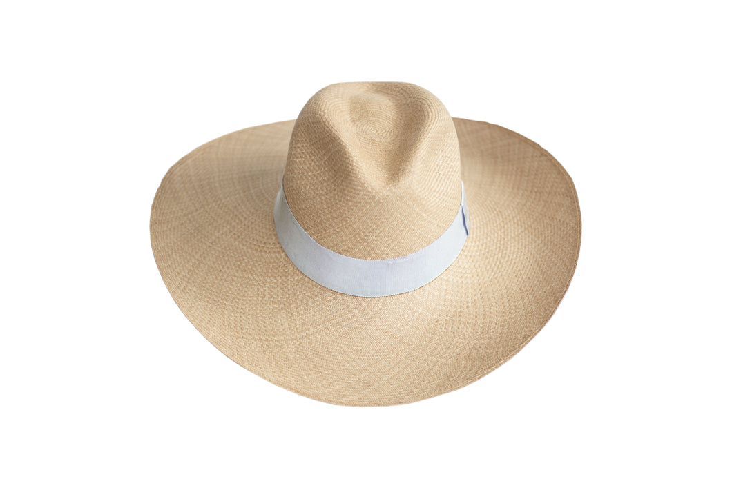 Wide Brim Handmade Panama Hat with Silver Gray Grosgrain Band