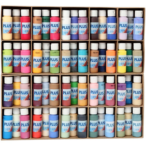 Plus Color Bastelfarbe, Sortierte Farben, 60x60 ml/ 1 Pck.