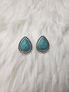 Natural Turquoise Drop Post Earrings