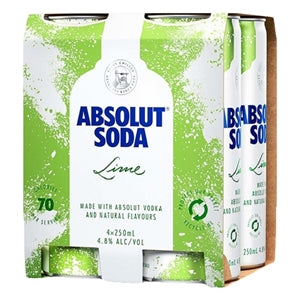 Absolut Lime & Soda 4 pack cans