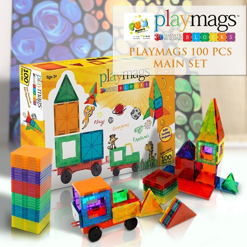 100PCS Playmags Genuine Magnetic Tiles (2019-'20 version)