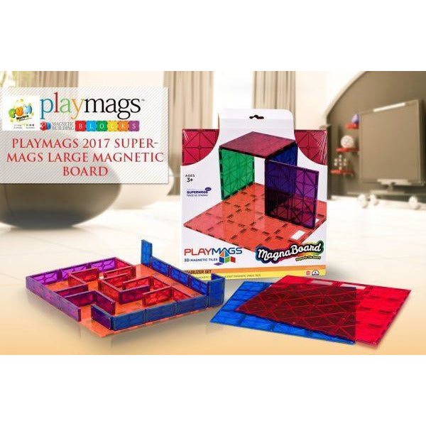 Playmags Large Magnetic Board 30x30 supermags - Best Seller (2019-'20 new version)