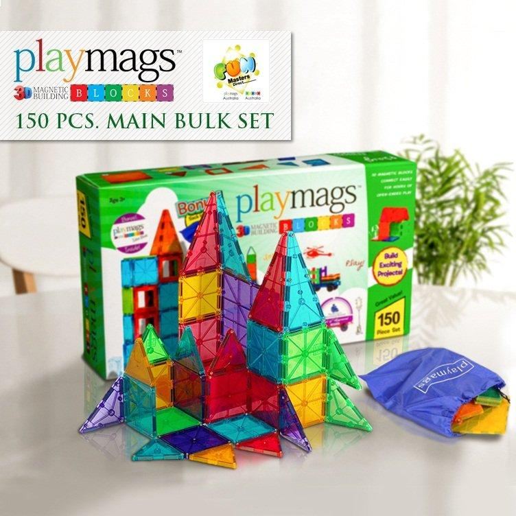 Playmags 150pcs Set Magnetic Tiles 3D Clear Coloured Solid Pieces (2015-2016 Version)
