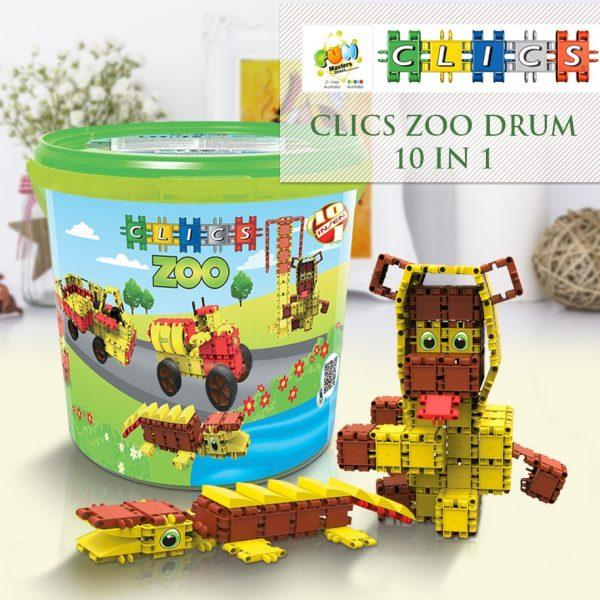 Clics Zoo Drum 307 Pieces 10-In-1