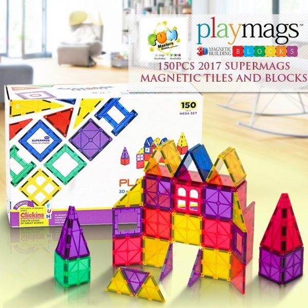 150pcs Genuine Playmags 3D Clear Colour Magnetic Tiles, Idea Book, 13 Bonus Alphabet Clickins 2018-2019 Version