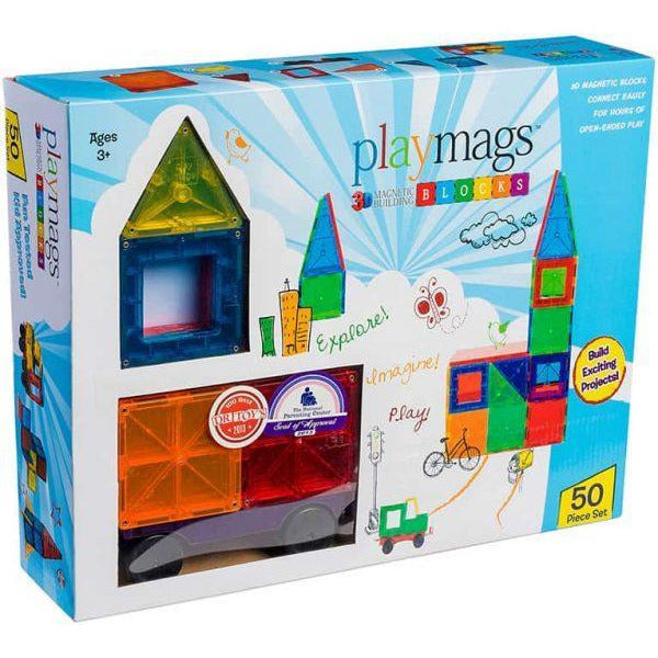 Playmags 50 pcs 3D Clear Colour Magnetic Tiles
