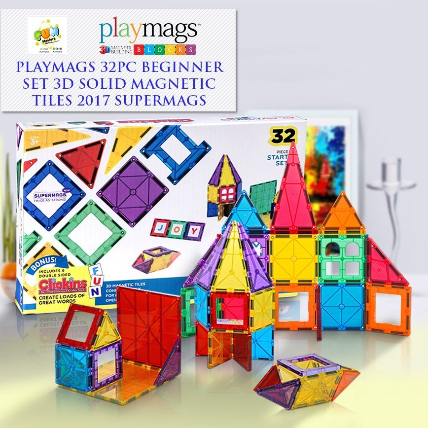 32PCS Playmags 3D Clear Colour Genuine Magnetic Tiles supermags (2019-'20 new version)