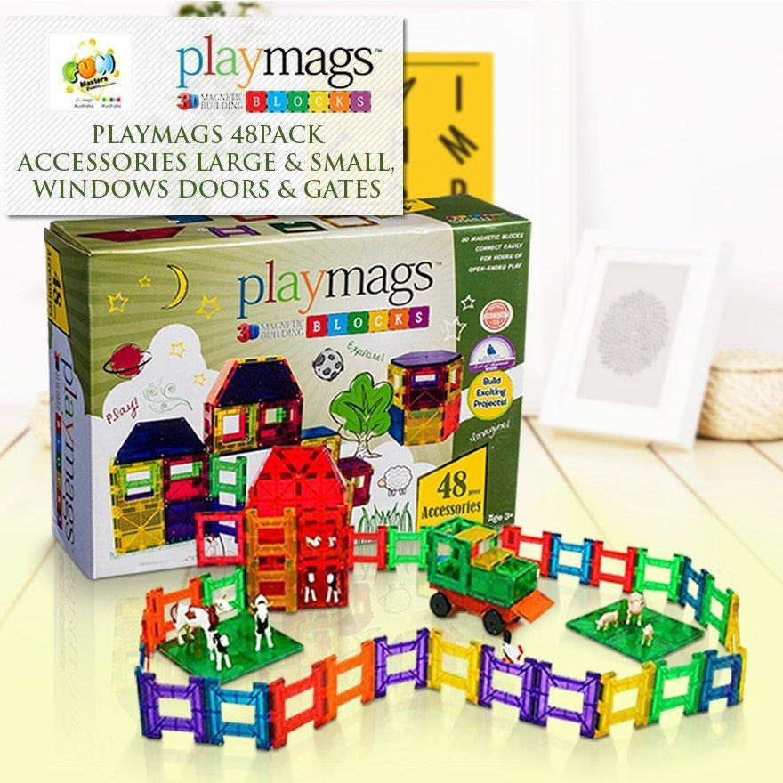 48PCS Playmags Accessories 3D Clear Colour Genuine Magnetic tiles supermags Windows/Doors/Gates (2019-'20 new version)