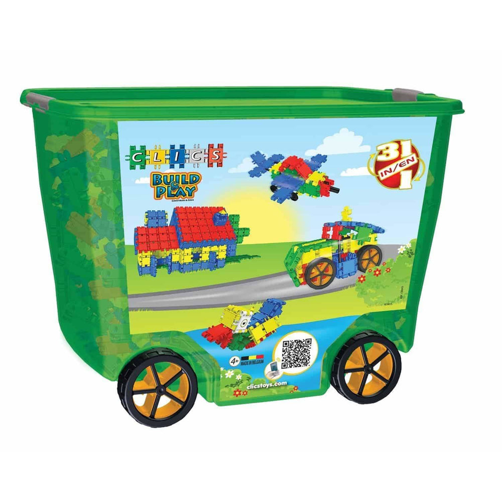 Build & Play 600 Pieces 31-In-1 In Green Roller Box