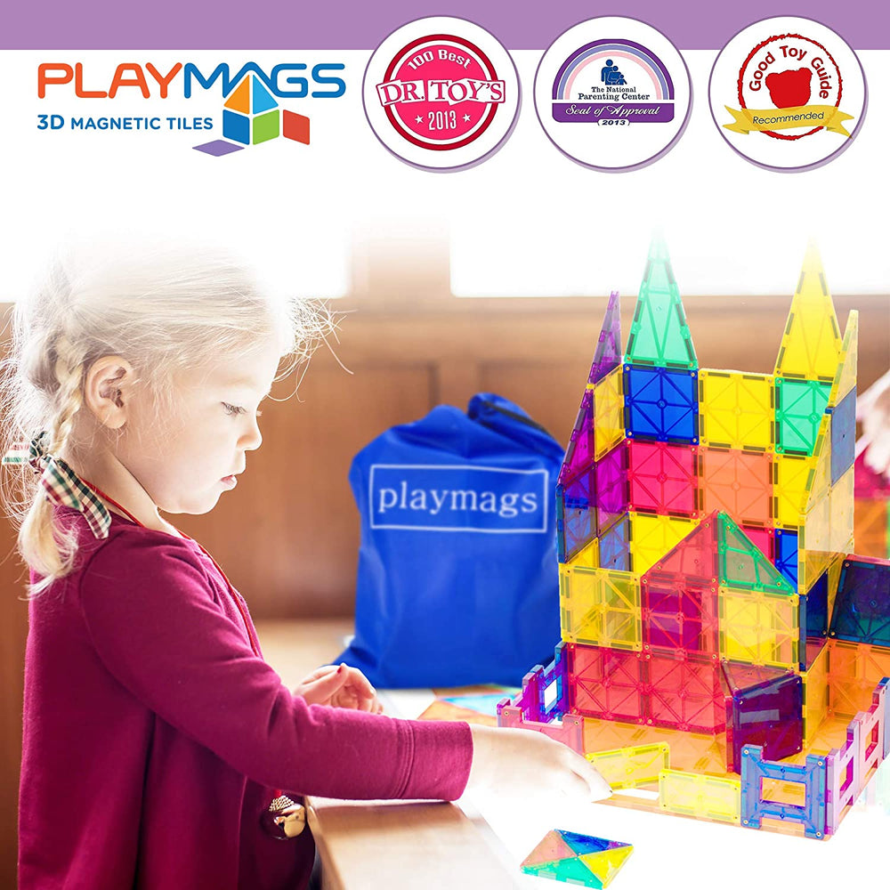 100PCS Playmags X-mas edition 3D Clear Colour Genuine Magnetic Tiles supermags (2019-'20 New Version)