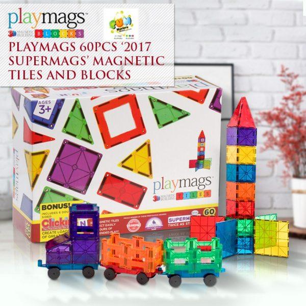 60PCS Playmags 3D Clear Colour Genuine Magnetic Tiles Supermags + 6 ABC Clickins (New 2019-'20 version)