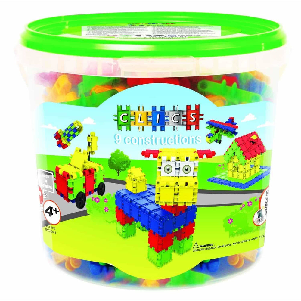 Build & Play Bucket Of 175 Colourful Pieces & 20 Building Ideas Booklet