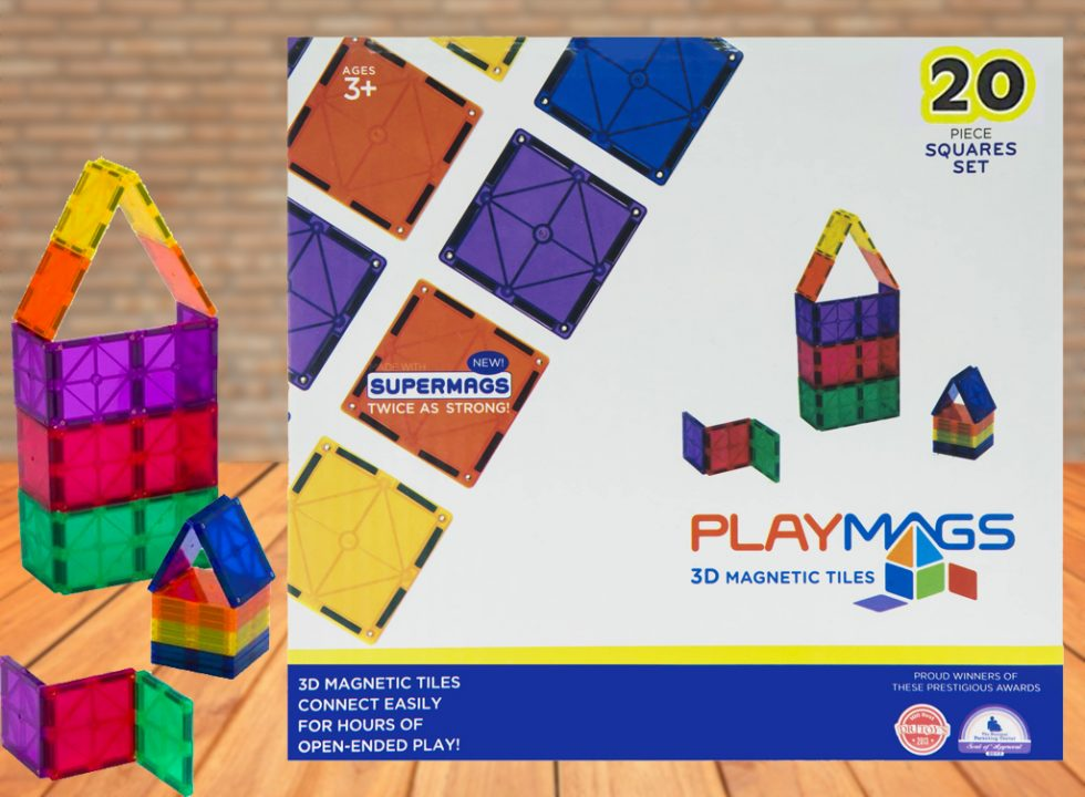 20PCS Playmags Squares Pack - 3D Clear Colour Genuine Magnetic Tiles Supermags (Newest Version 2019-'20)