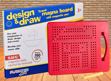 Playmags magna board with magnetic pen - design & draw includes 380 magnetic balls