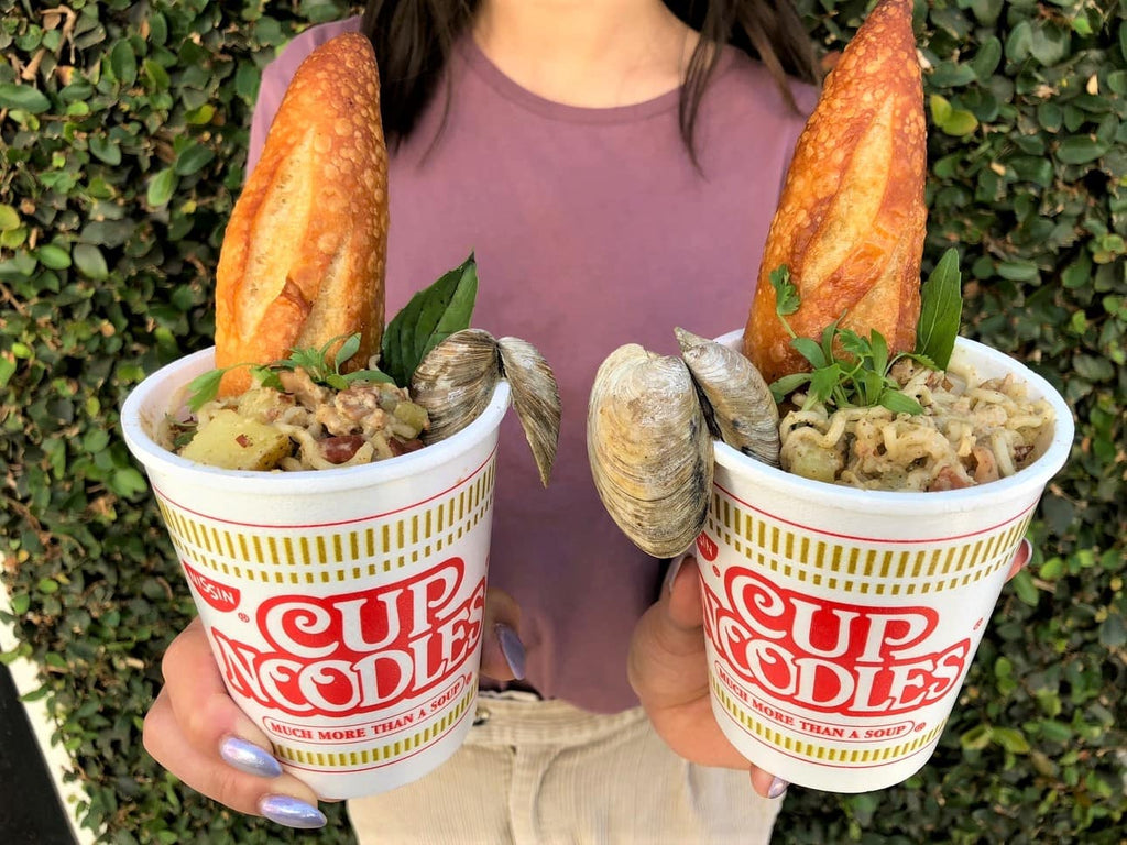 Clam Chowder Cup Noodles Are Served With A MASSIVE CLAM And A Curry Kick