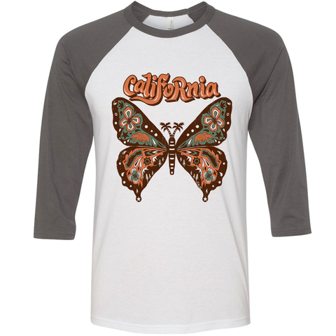 Grey Butterfly Baseball Tee