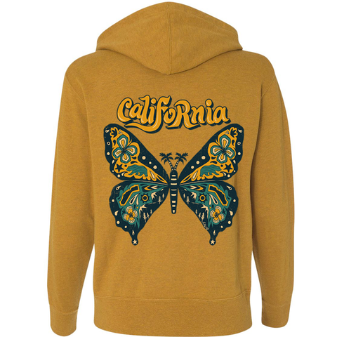 Gold Butterfly Zip Up Hoodie