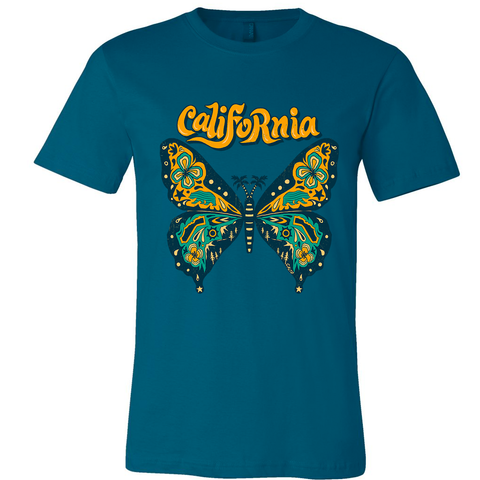 California Butterfly Teal Tee