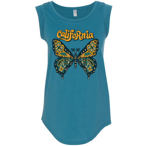 Teal Butterfly Capsleeve Tank