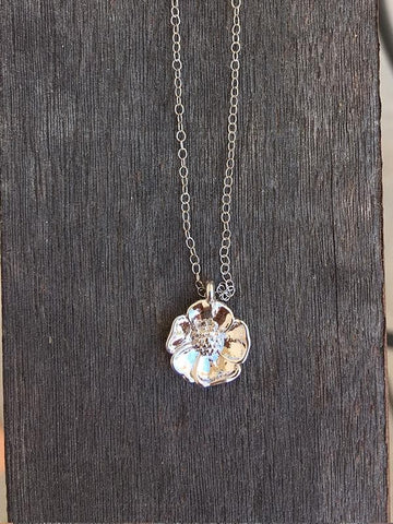 Silver California poppy necklace