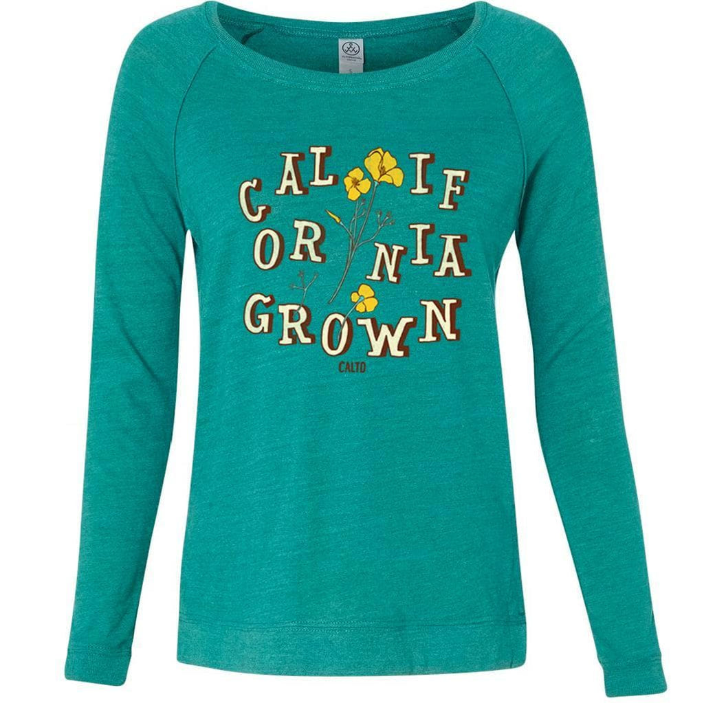 Grown Poppies Teal Sweater-Sweaters-CA LIMITED