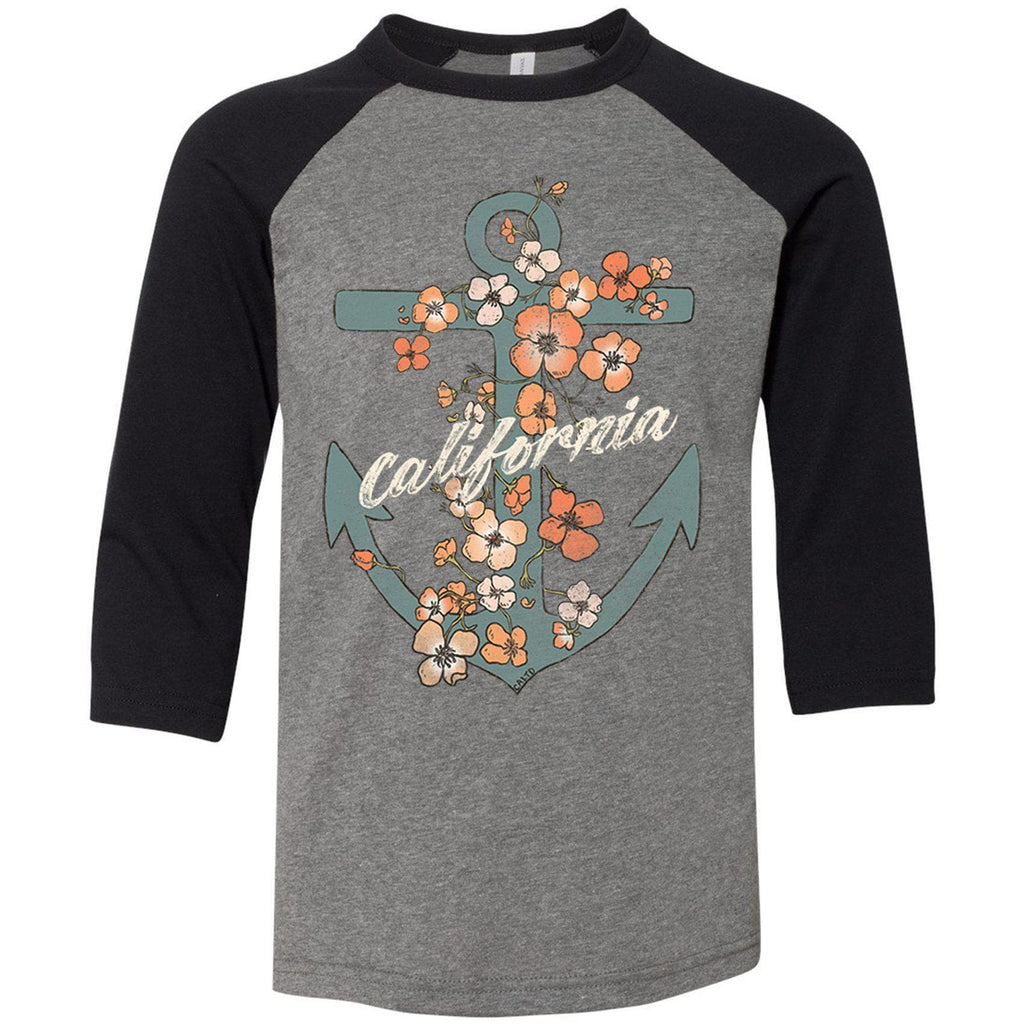 Anchor Poppies Deep Heather Black Youth Baseball Tee-CA LIMITED
