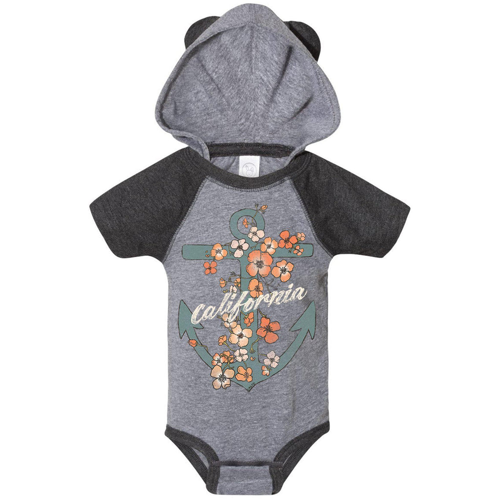 Anchor Poppies Granite Heather Vintage Smoke Baby Onesie-CA LIMITED