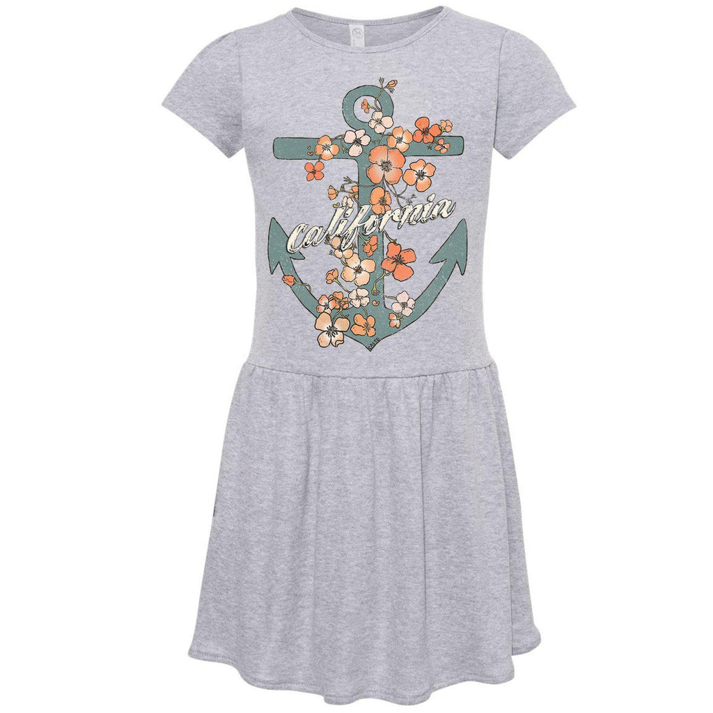 Anchor Poppies Heather Grey Toddlers Dress-CA LIMITED