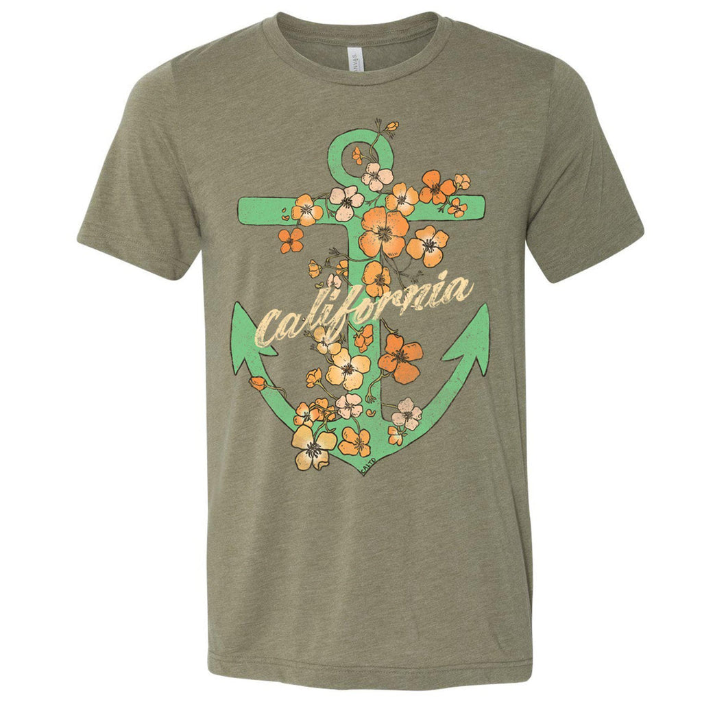 Anchor Poppies Heather Olive Tee-CA LIMITED